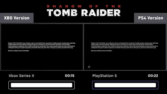 PS5 vs Xbox Series X Games Loading Comparison - Shadow of the Tomb Raider