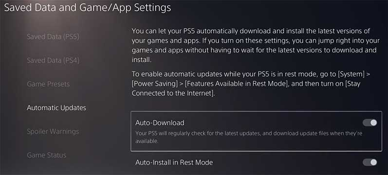 PlayStation 5 - Saved Data and Game/App Settings