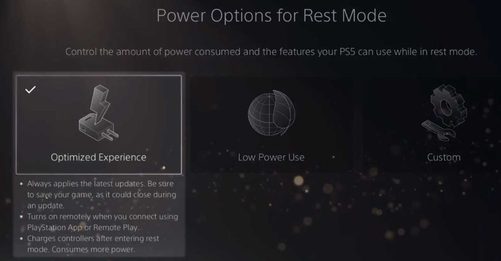 PlayStation 5: Power Options for Rest Mode - Optimized Experience