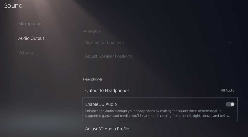 PlayStation 5 Settings: Sound Audio Output - Enable 3D Audio